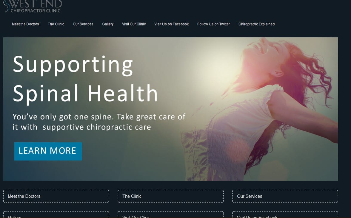 Chiropractic Clinic Website Sample
