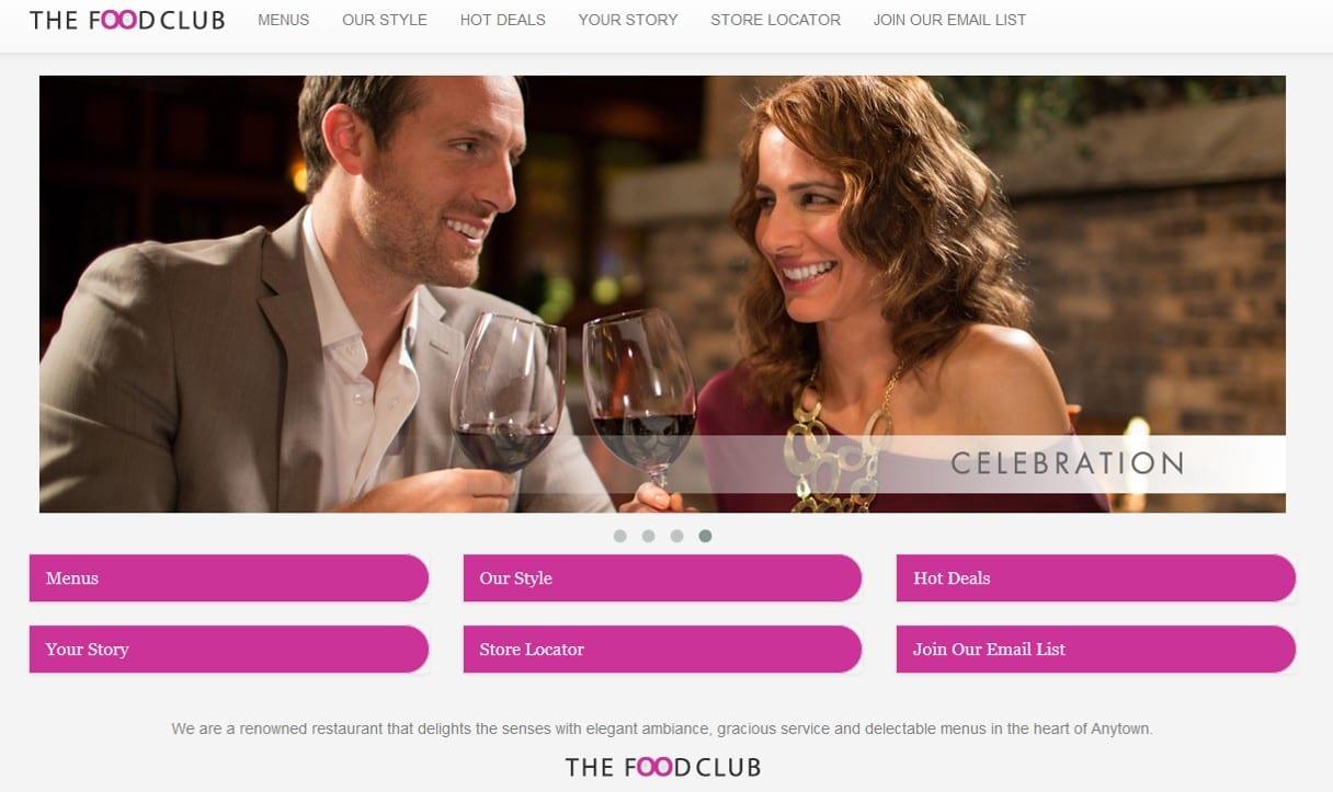 Food Club Restaurant Website Sample